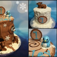 Winter Tree Stump Themed Birthday Cake For A 1St Birthday Winter tree stump themed birthday cake for a 1st birthday!