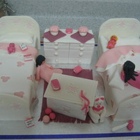 Girls' Room Variation on a Debbie Brown theme. Choc cake and MMF. For a little 'girle' girl, hence all the pink!