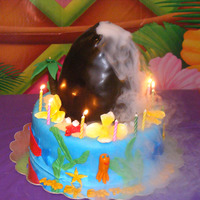 Hawaiian Volcano Cake smoke and Lava pours out. Kids Loved it!
