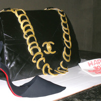 Chanel Handbag & Christian Louboutin Heel Handbag covered in fondant and heel is made from gum paste.