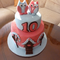 Owl Cake For my beautiful 10 year old daughter. Chocolate-orange cake, vanilla-strawbery cake and on the top white chocolate cake with peaches. All...