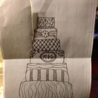 Sketch Bride Sent Me Of Wedding Cake the bride sent me this sketch... two days before the wedding she changed her mind on one of the layers,,, and sent another sketch. (ill...