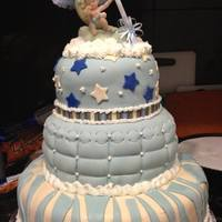 My Nieces Baby Shower Cake *this is a cake i made yesterday for my nieces baby shower. It is three tier vanilla cake with vanilla fondant..