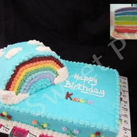 "Rainbow In A Rainbow 7x11 rainbow sheet cake with half 6"" round rainbow."