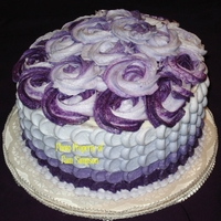 Purple Petal Effect Red Velvet cake with cream cheese filling. Purple Ombre petal effect.
