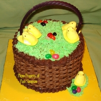 "Easter Basket Chocolate and Banana ""checkerboard"" cake. Chocolate basketweave. Handle is grape twizzler."