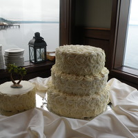 Rose Cakes the bride and groom got married in Hawaii and wanted a simple yet elegant wedding cake for there reception. The smaller cake is gluten free...