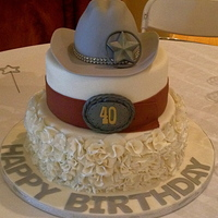 Dallas Themed Birthday Cake Everything is bigger in Texas! Big, MMF (with a bit of gum paste mixed in) ruffles with the edges painted silver for the gals, a big ol&#...