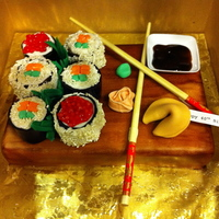 Sushi Cake Lemon Pound Cake with Lemon glaze, covered in fondant. Sushi pieces are cake covered in fondant decor.