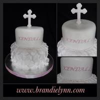 Christening Cake Fondant Covered W Fondant Accents *Christening cake - fondant covered w/ fondant accents