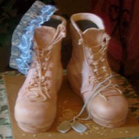 Combat Boots A returning soldiers boots made from RC covered in fondant, then built with fondant piecies in the same way you would make a pair of boots...