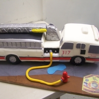 Ladder Truck Cake Ladder done for the Firemen at Camdenton MO All cake except the RC ladder,