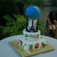 Top Of The World Groom's Cake This was a very specialized cake with things & places of both the bride & groom's interests.The skyline was made from fondant...