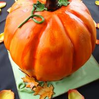 "Pumpkin Cake   This was actually for a wedding (groom's cake) for this past weekend. Pumpkins were their ""theme""."