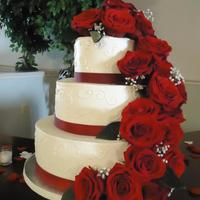 Fresh Red Rose Cascade   Buttercream cake with Fresh Roses
