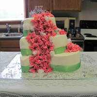 Paisley Wedding Cake   white/chocolate/strawberry cakes with buttercream icing and artificial flowers and ribbon....