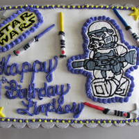 Star Wars   chocolate cake with buttercream icing...fondant/gumpaste accents with FBCTs...