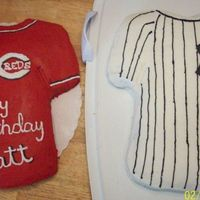 Reds And Yankees Birthday Cakes My son LOVES the Yankees and requested his cake look like the Yankee jersey. Then he decided since his little league team is the Reds could...
