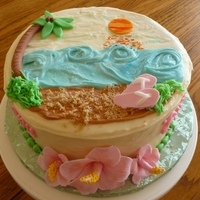 Hawaiian Beach Red velvet cake with cream cheese frosting. Fondant accents