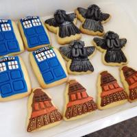 Doctor Who Cookies Doctor Who cookies. Christmas present for a friend. Fondant on sugar cookies.