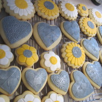 Yellow & Gray Wedding Shower Cookies For a wedding shower. Fondant on sugar cookies.