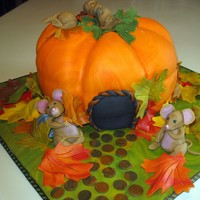 Pumpkins & Mice Wanted to make a fall cake and love pumpkins with little sleepy mice. Fondant/gumpast mice and leaves. Spice cake iced in BC and covered in...