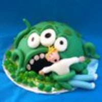 "Swamp Thing Inspired by Debbie Brown's book, ""Gorgeous and Gruesome Cakes for Children."" This was my first attempt at figure modeling,..."