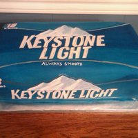 Keystone Light Beer Box... This cake is life size to fit the size of the Keystone Light 18 pack box. It was about 15x7.5x5. Covered it in blue fondant and used silver...