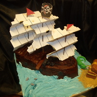 Pirate Ship Cake This is the cake I made for my son's birthday today!