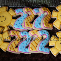 You Are My Sunshine Cookie Favors to go along with the You Are My Sunshine cake for my two year old's birthday party