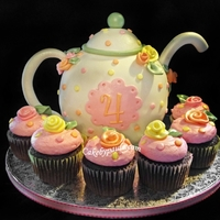 Teapot this cake was made using the half ball pan and a six inch round. its covered in fodant with gumpaste accests.