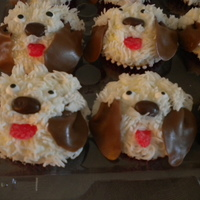 Puppy Cupcakes White Cake With Chocolate Gansche Fillling Chocolate Covered Raisin For Nose Tootsie Roll Ears Candy Eyes Red Spice  PUPPY CUPCAKES...... white cake with chocolate gansche fillling, chocolate covered raisin for nose, Tootsie roll ears, candy eyes, red...