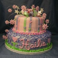 Childs Birthdy Cake Fondant covred. Accents in buttercream.