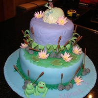 Princess And The Frog Vanilla sponge cake. Covered in fondant....piping gel was used for the water.