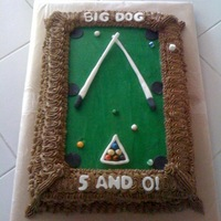 Birthday Pool Table   coconut cake with buttercream frosting with fondant decorations