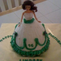 Sweet 16 Doll Cake This was for a sweet 16 birthday which also happened to be on Homecoming weekend.