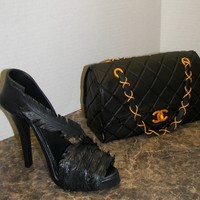 Gumpaste Stiletto And Purse.