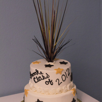 Plano East Graduation Cake   buttercream w/fondant accents to match school colors.