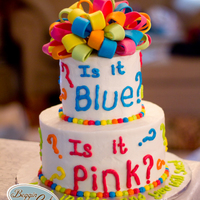 Neon Gender Reveal  Gender reveal cake. It was blue inside to reveal a baby boy. Designed to match the party napkin. (not really my favorite color combination...