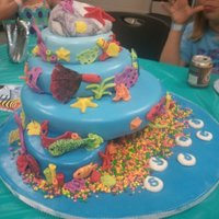 Under The Sea 2 small ovals on the bottom, 10 inch, 8 inch and 6 inch rounds. Large cakeball shaped into rock. Covered in fondant. Fondant sea life and...