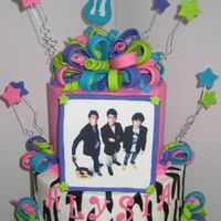 Jonas Brothers I made this for my neices 11th birthday. 7 and 10 in cakes cover in BC with fondant and gumpaste accents.The picture was an edible image on...