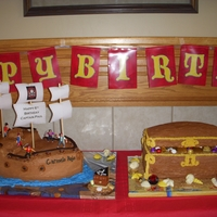 Pirate Ship & Treasure Chest Birthday Cake