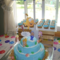 Bubble Guppies Cake With Mobile I decorated a nursery mobile and hung the Bubble Guppies from it so they would spin around the cake I made and look like they were swimming...