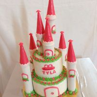 White And Pink Castle White and pink castle cake for Tyla's first birthday