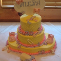 Anissa's Baby Shower Cake  This was a baby shower cake I did for my niece. It is a 1 layer, 10in round cake on the bottom I made a 1 layer 8in. cake, cut in half. I...