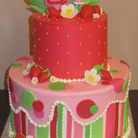 Strawberry Shortcake strawberry short cake, buttercream with fondant accents