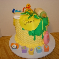 Baby Basket all the accessories are made from fondant