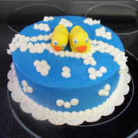 Rubber Ducky Baby Shower Cake buttercream with fondant ducks