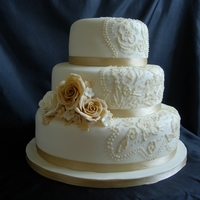 Coffee Vintage Lace I really enjoyed doing this cake - fondant covered with a bit of brush embroidery