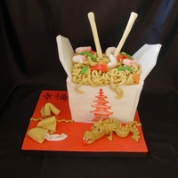 Chinese Takeaway Fondant covered vanilla cake plus fondant fortune cookies & dragon